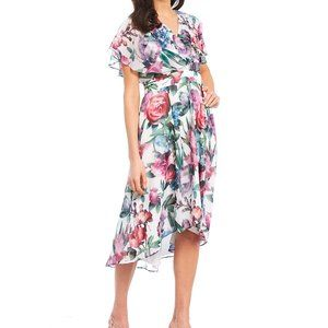 NWT Maggy London Floral V-neck Wrap Midi Dress